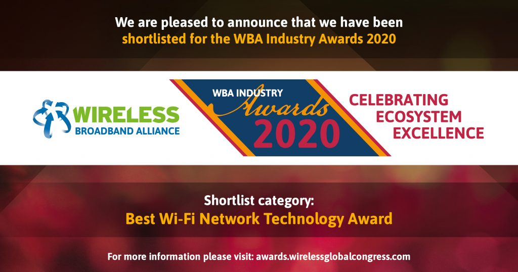 Best Wi-Fi Network Technology GlobalReach WBA Awards 2020